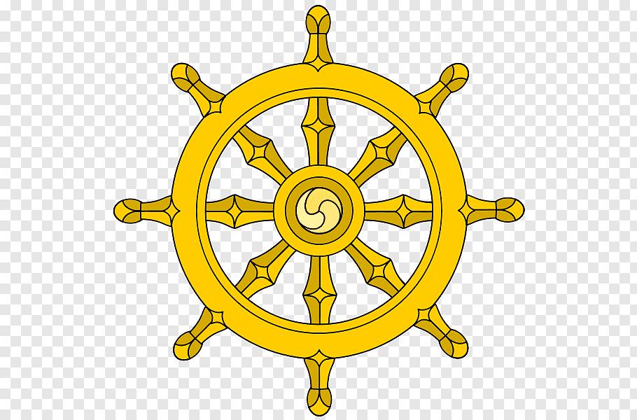 Yellow ship\'s wheel illustration, Wheel Of Dharma Yellow.