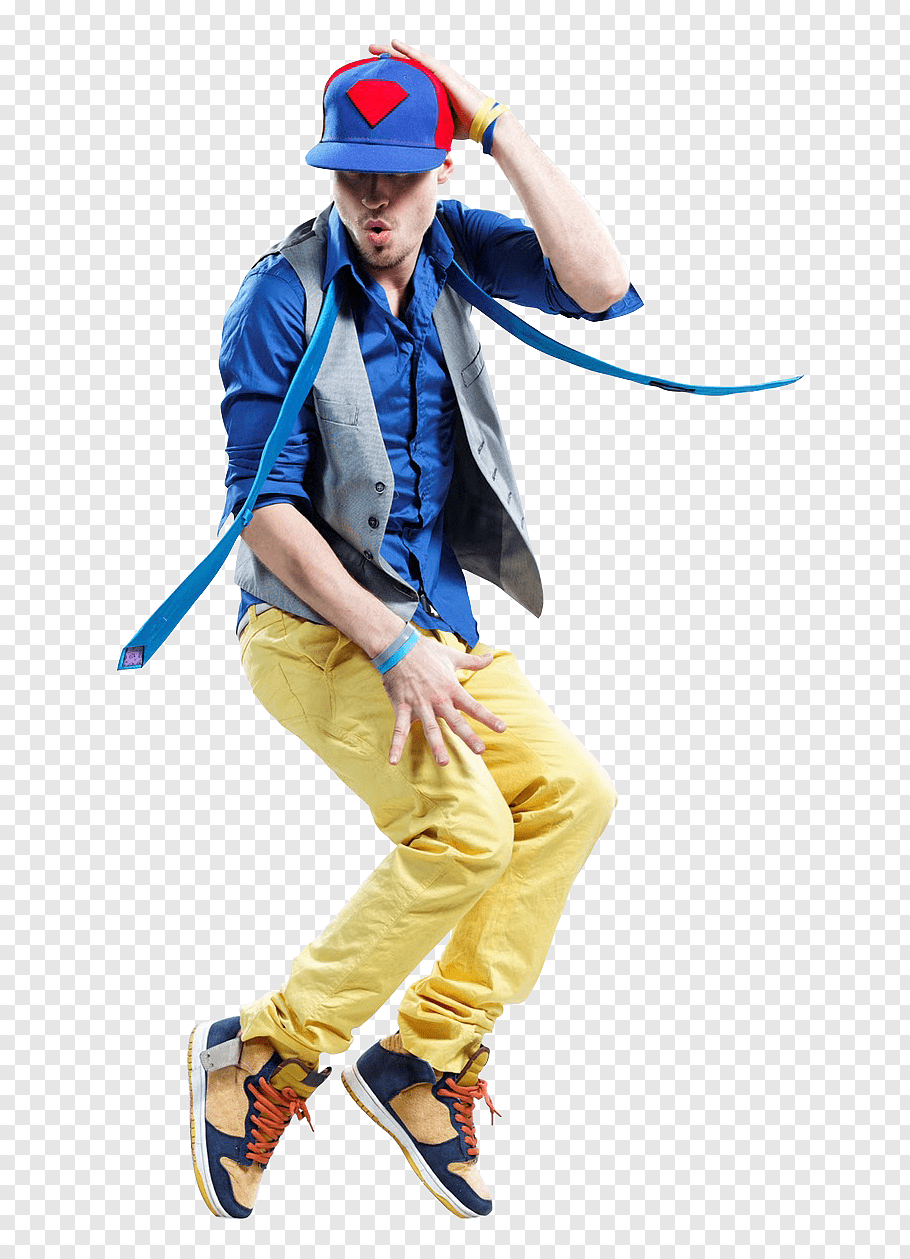 Dancing man wearing blue shirt and grey vest with yellow.
