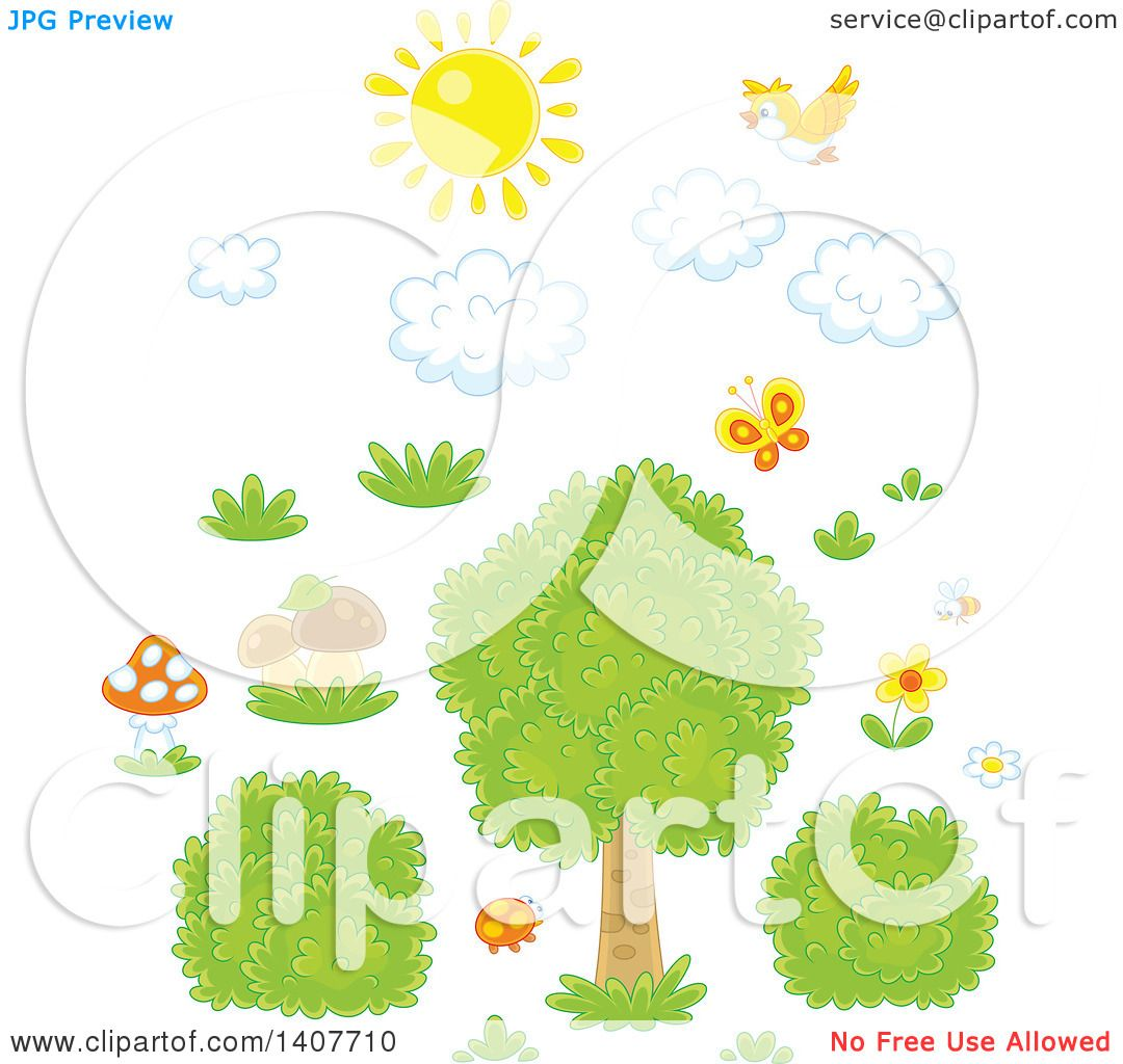 Clipart of a Yellow Bird and Sun with Clouds over Grass, Mushrooms.