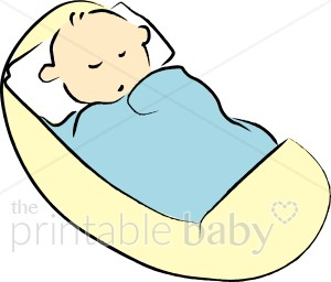 Baby in Yellow Cradle Clipart.