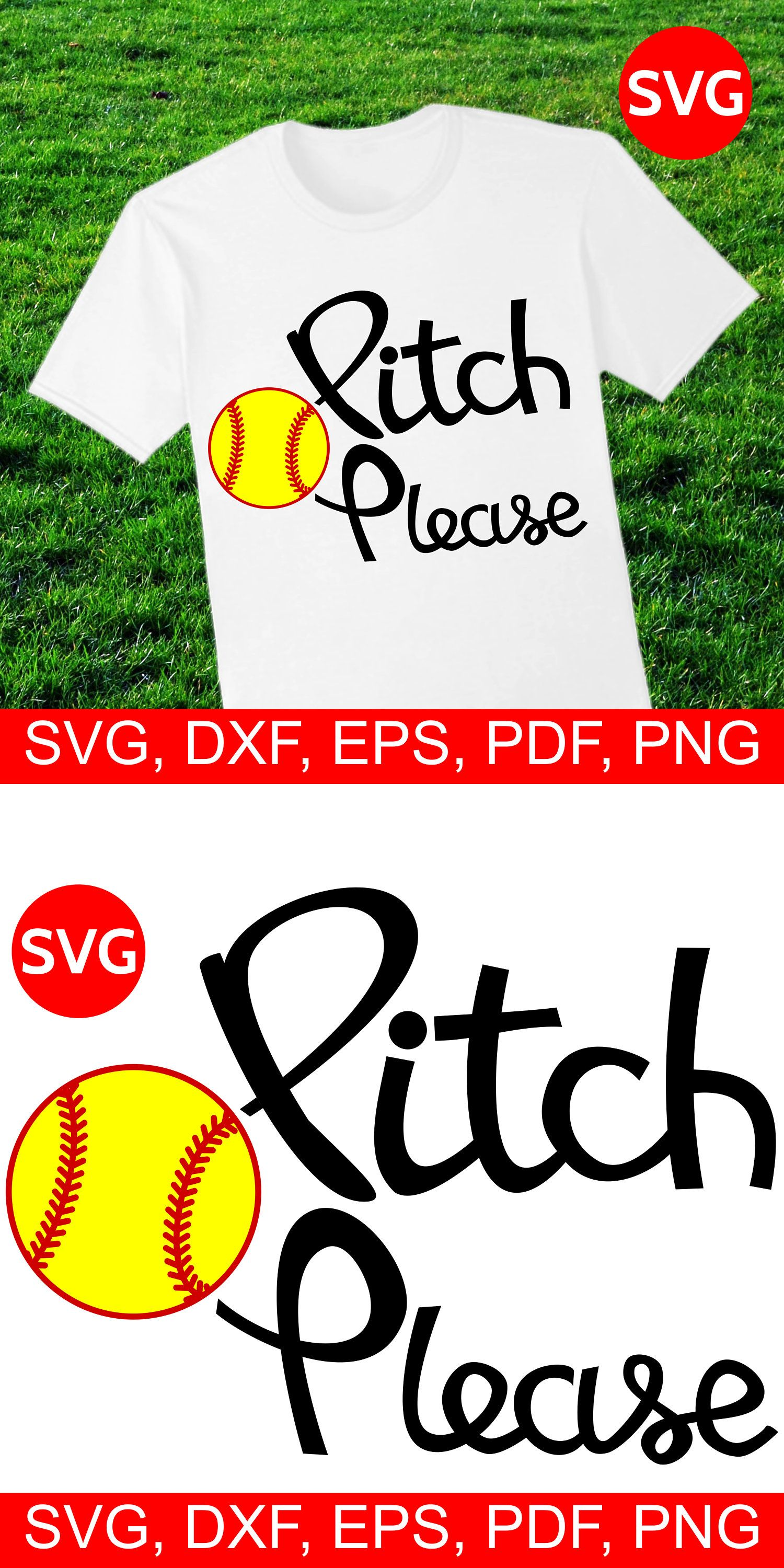 Softball Pitch Please SVG file for Cricut and Silhouette.
