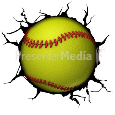 This clip art image shows a softball breaking though a wall.