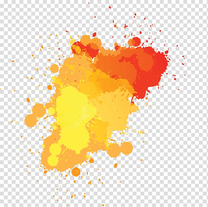 Yellow and red art, Splash Ink Drawing, ink transparent.