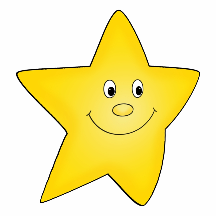 Flying Yellow Cartoon Star Drawing.