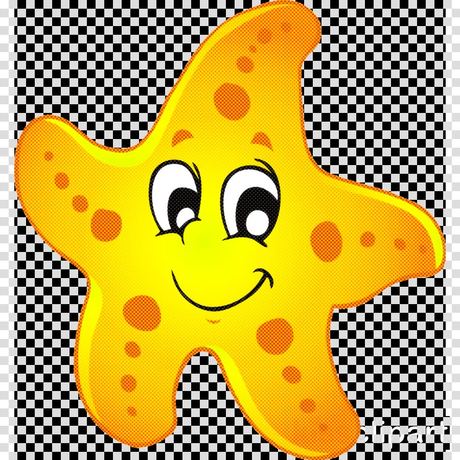 yellow cartoon star starfish clipart.