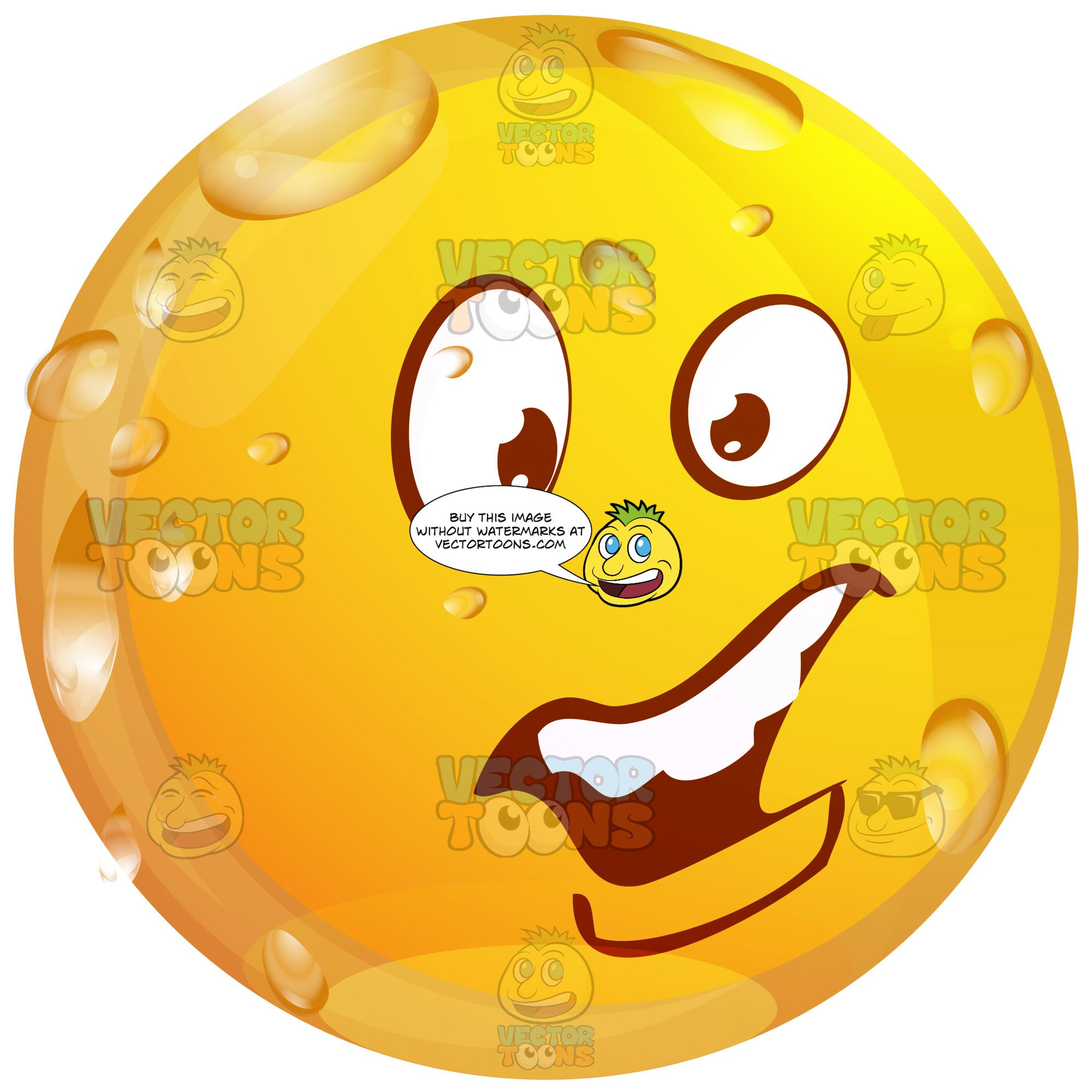Concerend Wet Yellow Smiley Face Emoticon With Unibrow, Open Mouth,  Straight Teeth, Lower Lip.