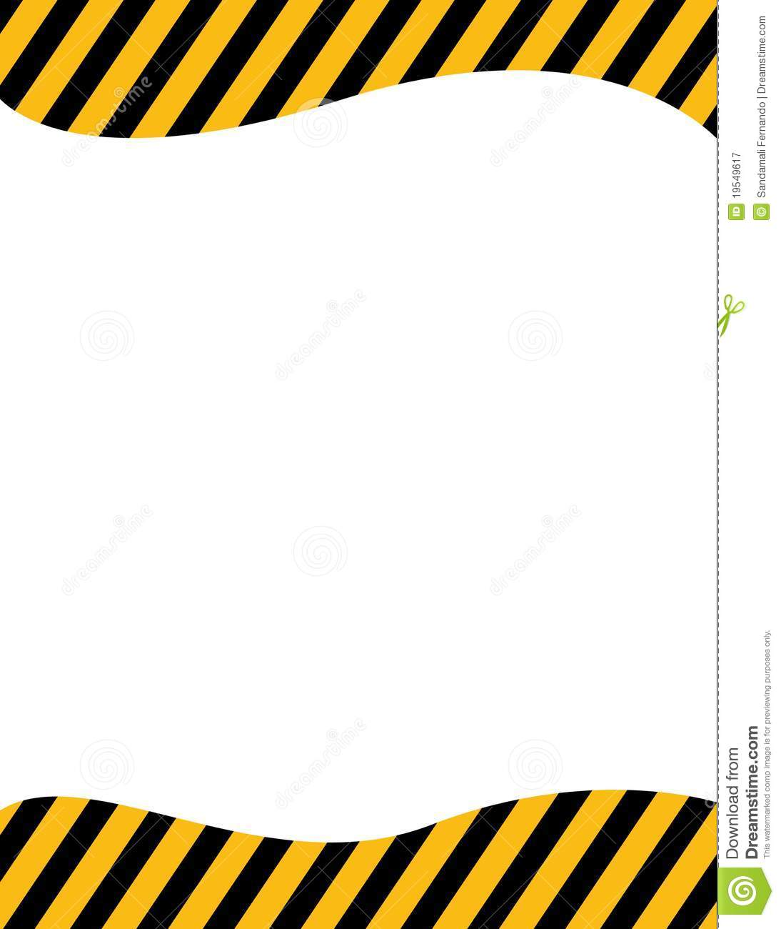 Border Frame With Black And Yellow Stripe On White Background.