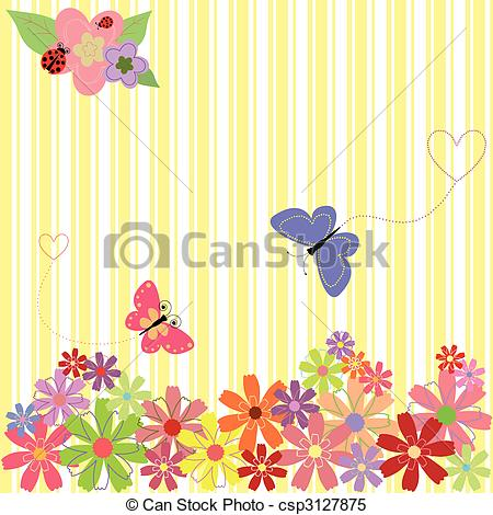 Clipart Vector of Springtime flowers & butterflies on yellow.