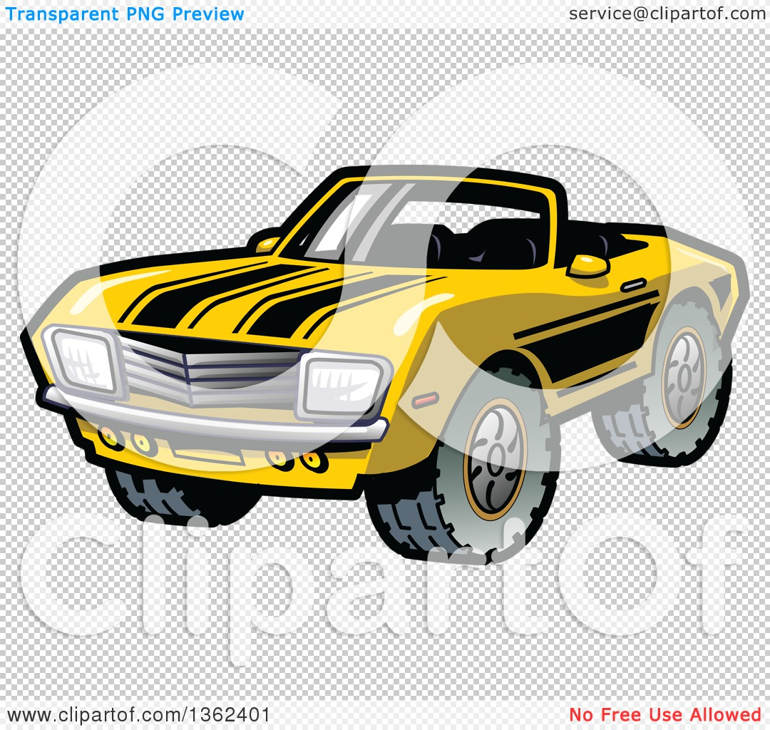 Clipart of a Cartoon Yellow Convertible Muscle Car with Black.