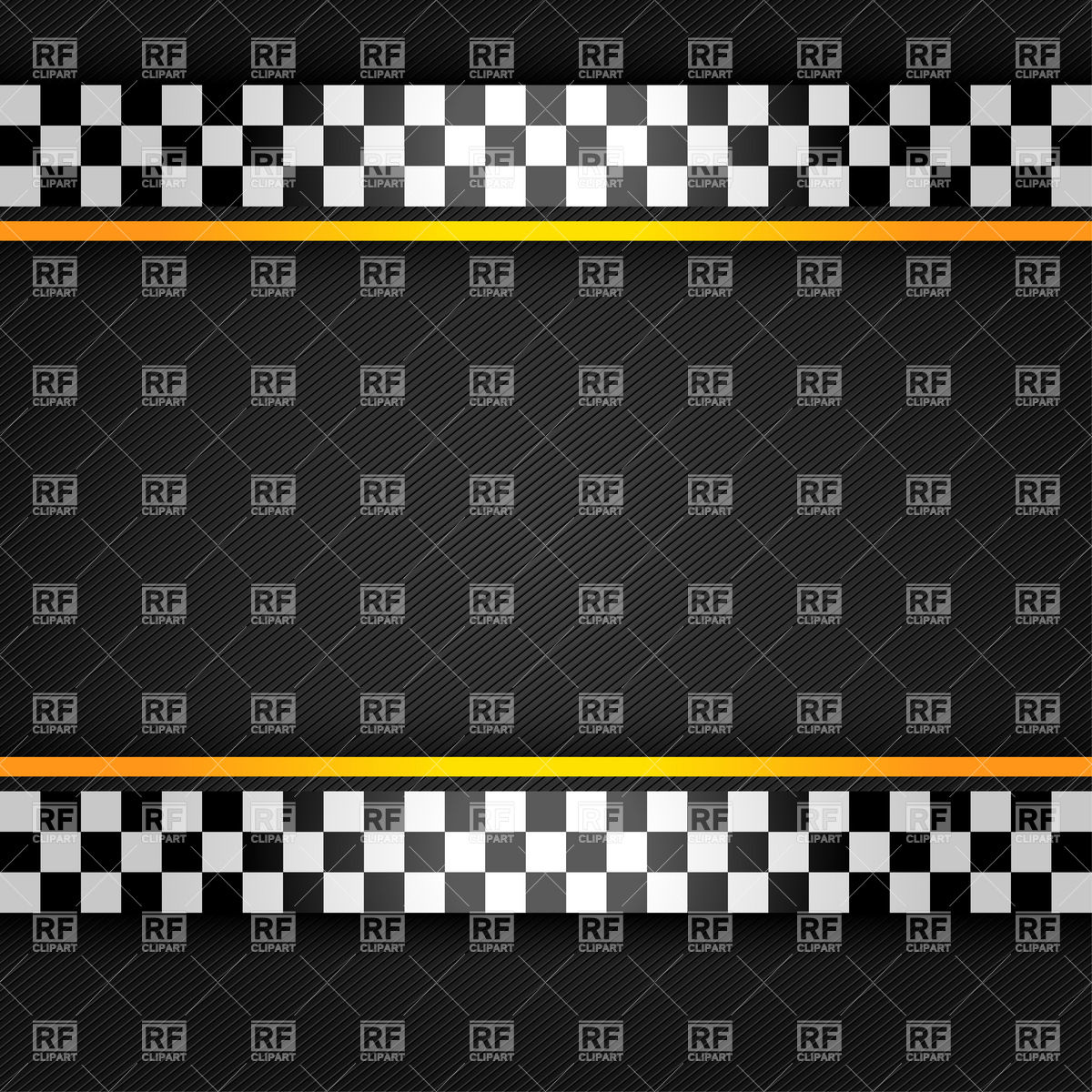 Textured racing design with chequered and yellow stripes Vector.
