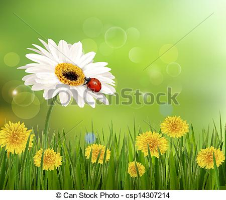 Vector Clip Art of Summer nature background with ladybug on white.