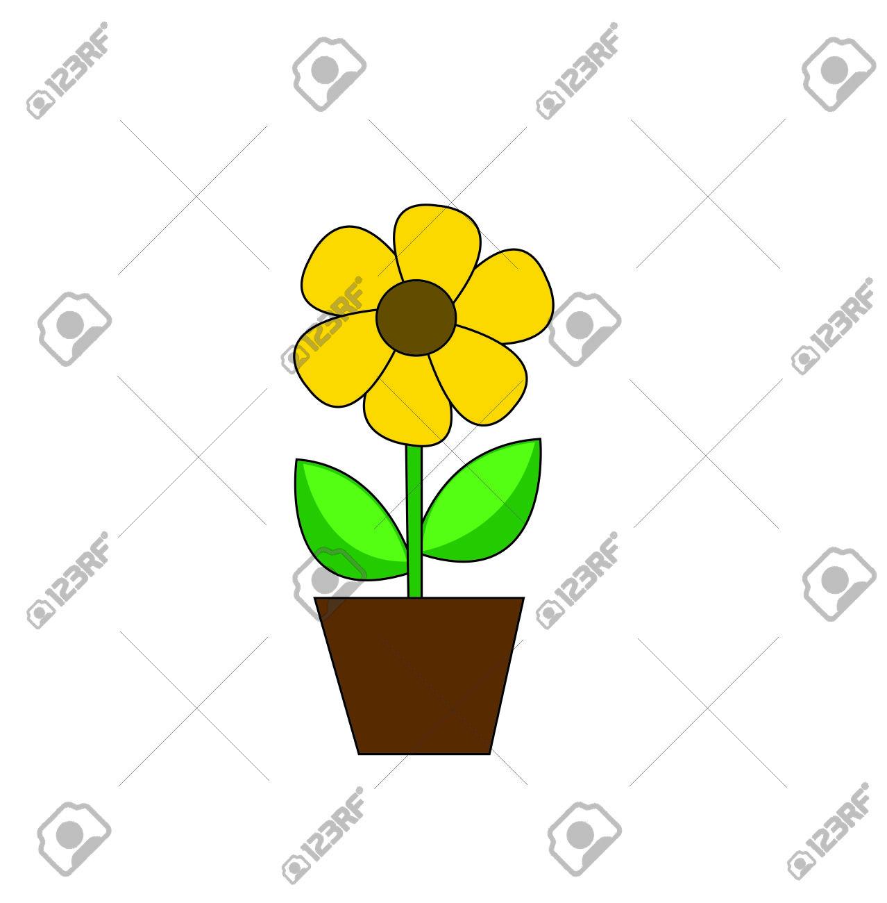 Sunflower Flower Pedicle Nature Illustration Yellow Summer Bright.