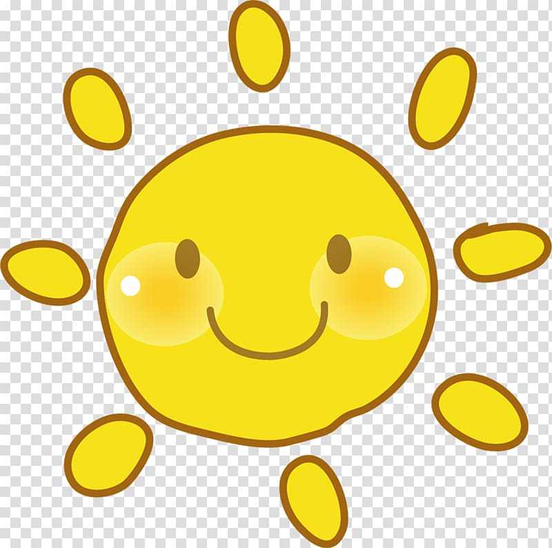Cute sun smiling face transparent background PNG clipart.
