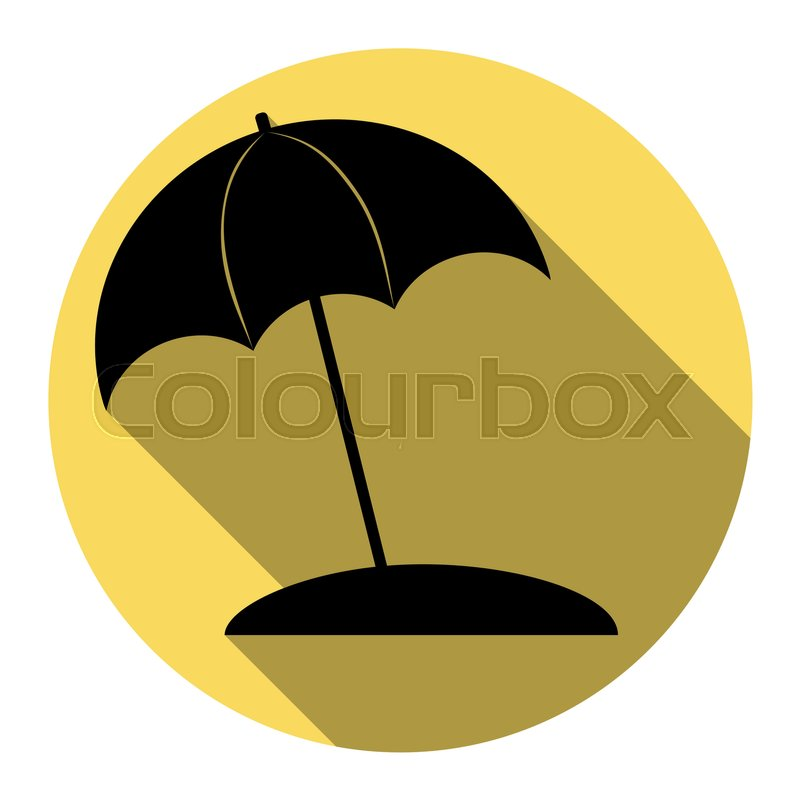 Umbrella and sun lounger sign. Vector..