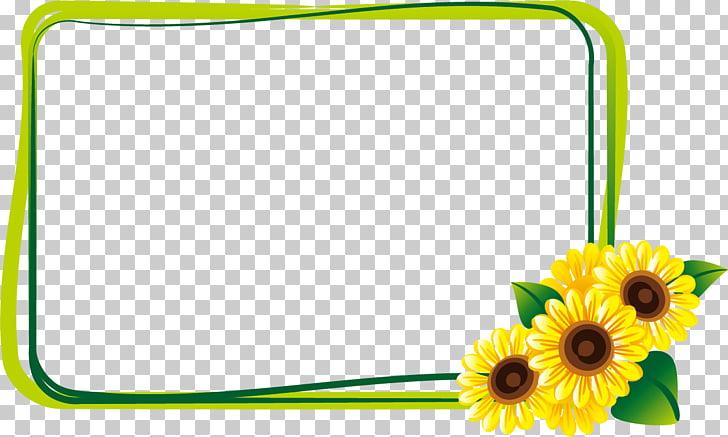 Common sunflower Summer Illustration, Sunflower Border.