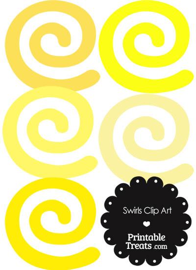 Yellow Swirls Clipart — Printable Treats.com.