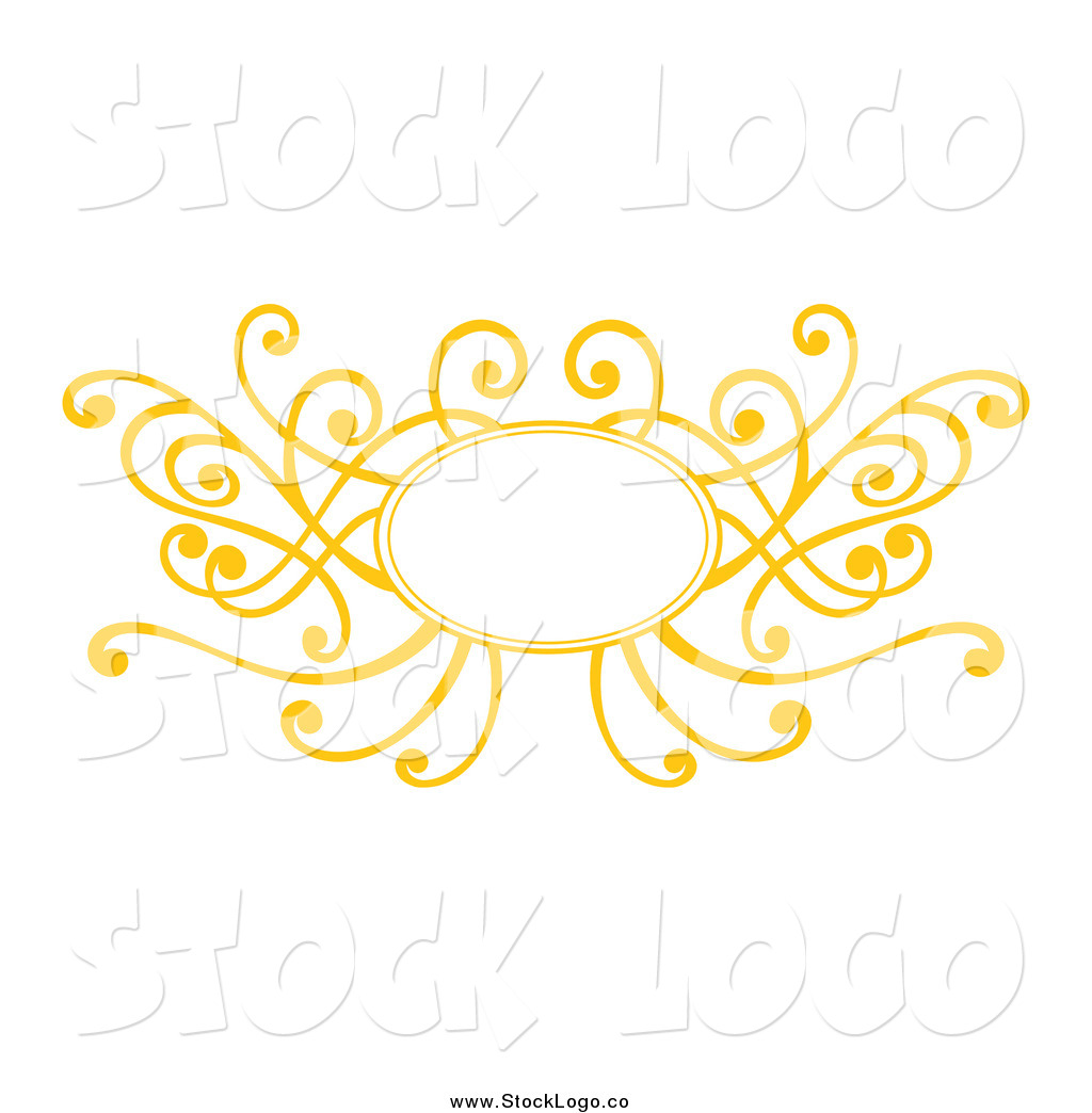 Vector Clipart of a Decorative Yellow Swirl Frame Logo by Cherie.