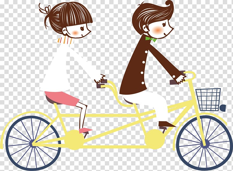 Man and woman riding tandem bike, Bicycle couple, couple.