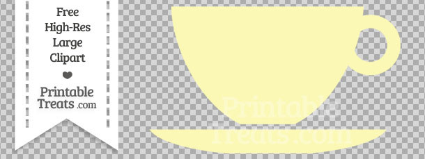 Pastel Light Yellow Teacup Clipart — Printable Treats.com.