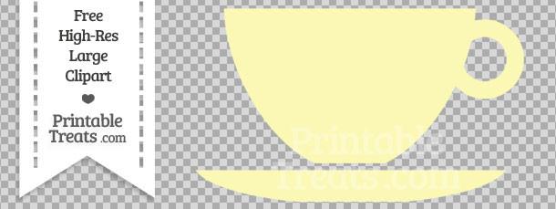 Pastel Light Yellow Teacup Clipart — Printable Treats.com.