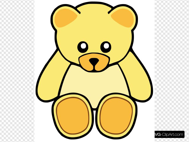 Yellow Cute Teddy Bear Clip art, Icon and SVG.