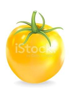 Yellow Heirloom Tomato Clipart Image.