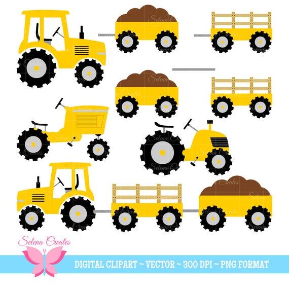 Tractor Clipart Set, Yellow Tractors, Vector, PNG Format.