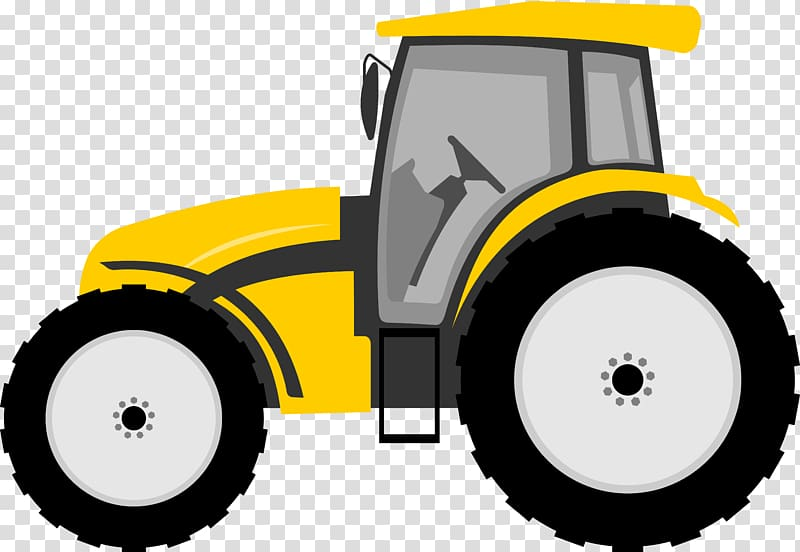 Yellow and black tractor art, Tractor Farmall Cartoon , tractor.