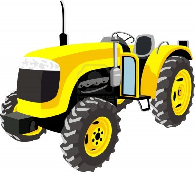 Yellow tractor clipart isolated on white.
