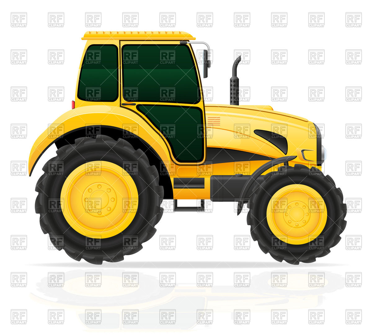 Yellow tractor on white.