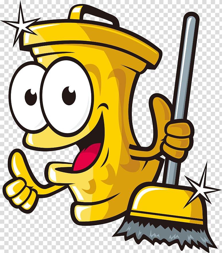 Yellow trash bin character holding broom , Cartoon Waste.