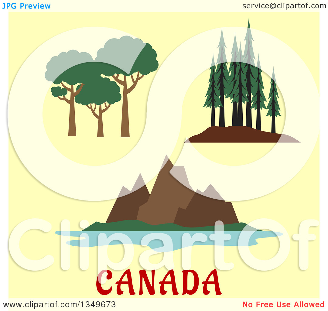 Clipart of Flat Design Canadian Nature and Landscape Scenes over.