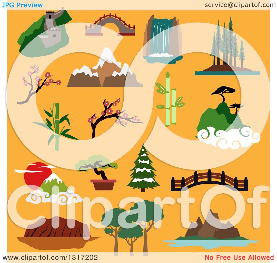 Clipart of Flat Design Famous Landscapes and Buildings of China.