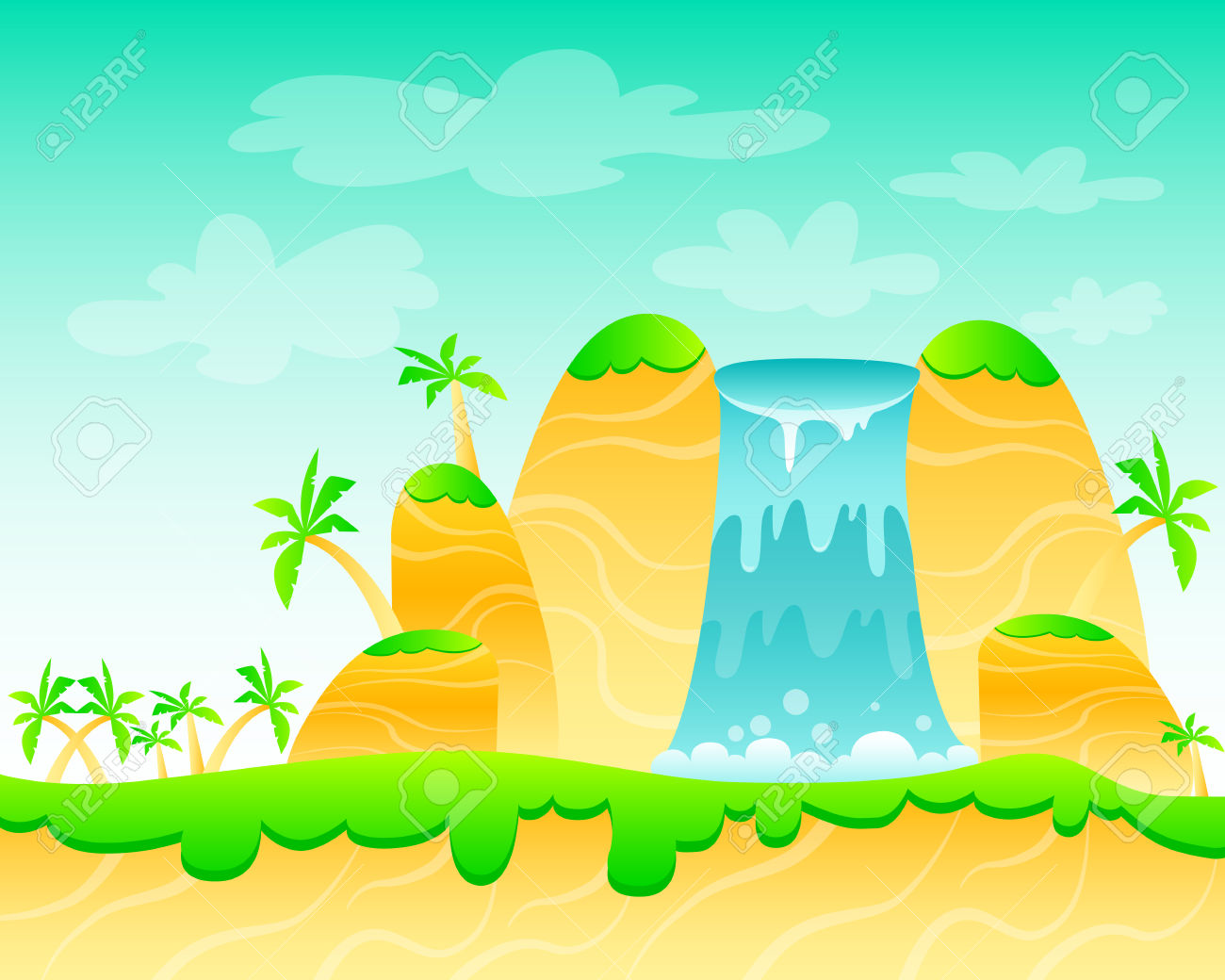 Waterfall And Palm Trees. Game Design. Illustration Royalty Free.