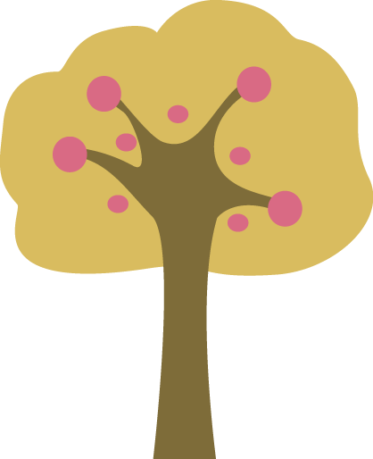 Pink and Yellow Tree Clip Art.
