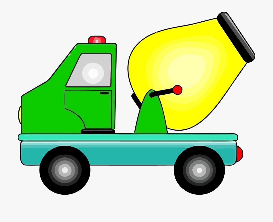 Cement Truck Yellow Green Clipart Png.
