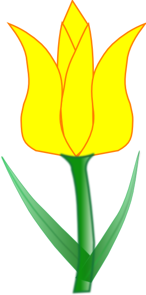 Yellow tulip clipart image.