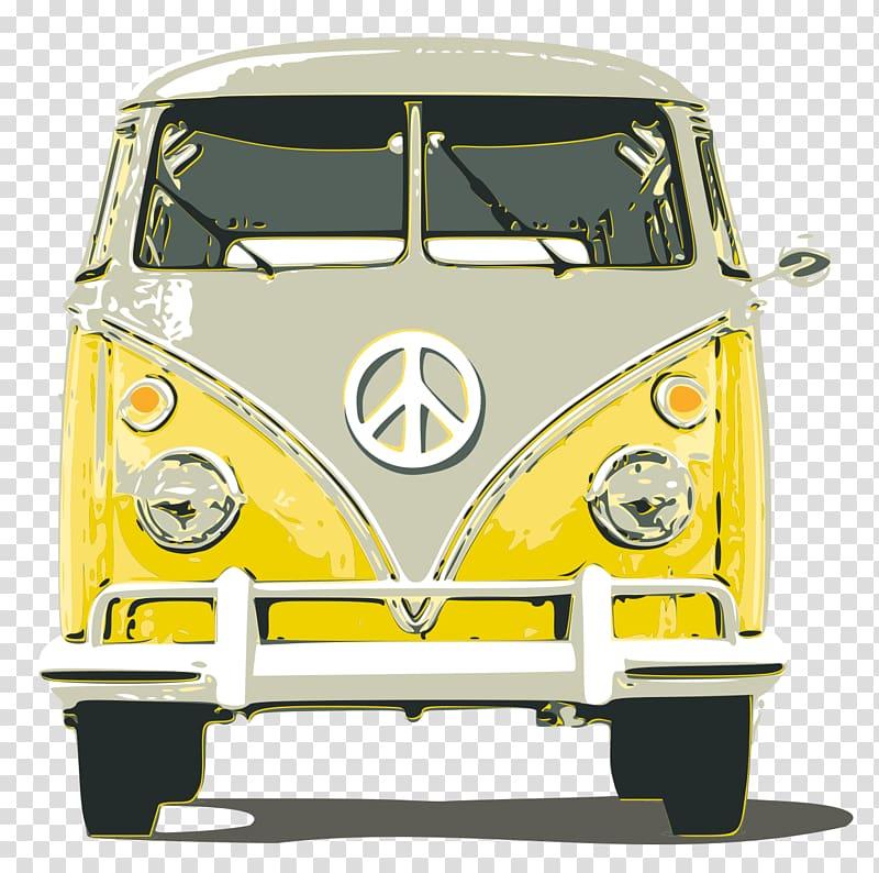 Yellow Volkswagen Samba illustration, Volkswagen Type 2.