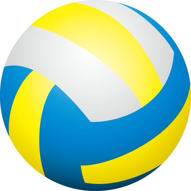 Blue And Yellow Volleyball Clipart.