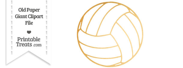 Old Paper Giant Volleyball Clipart — Printable Treats.com.