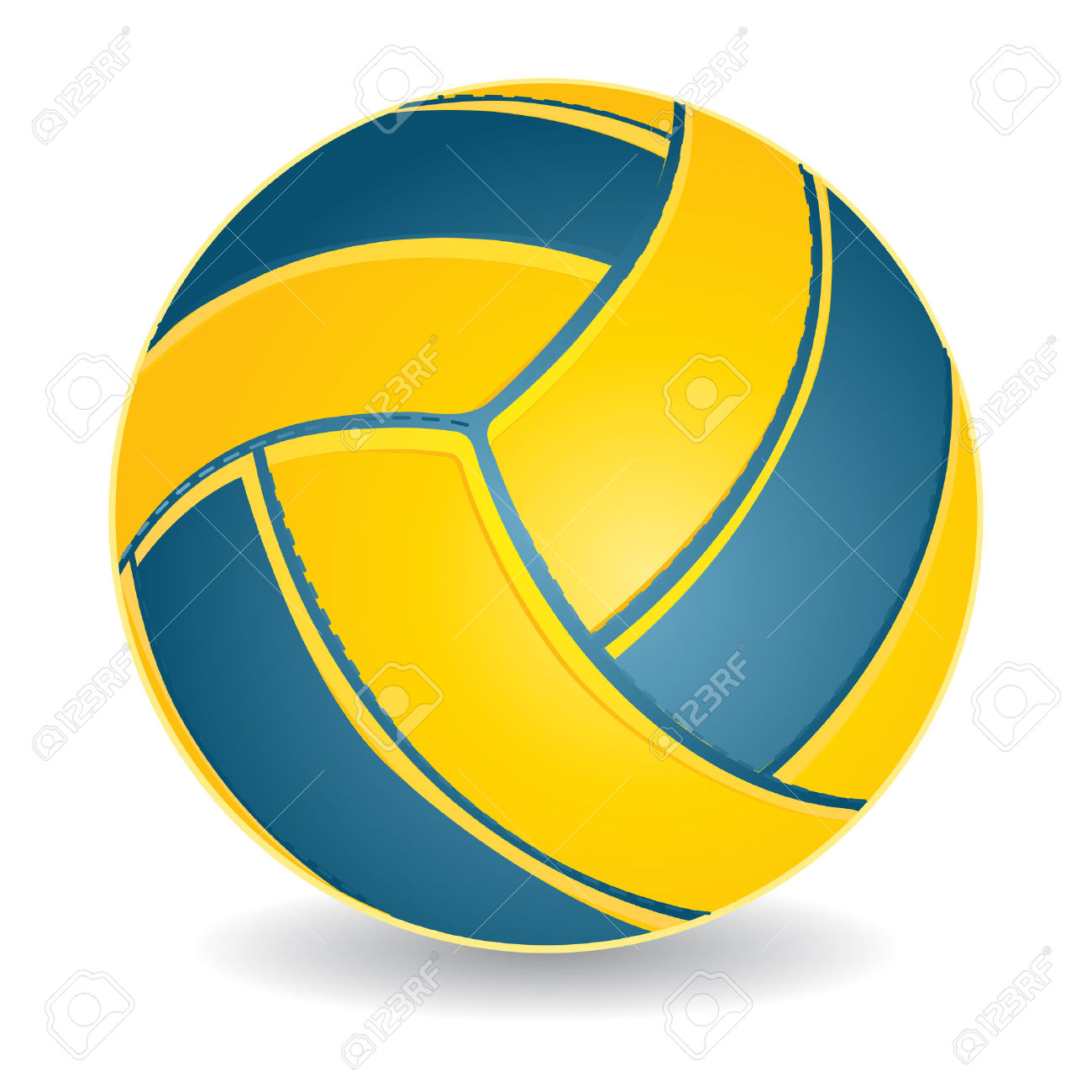 Blue And Yellow Volleyball Ball Isolated Over White, Vector.