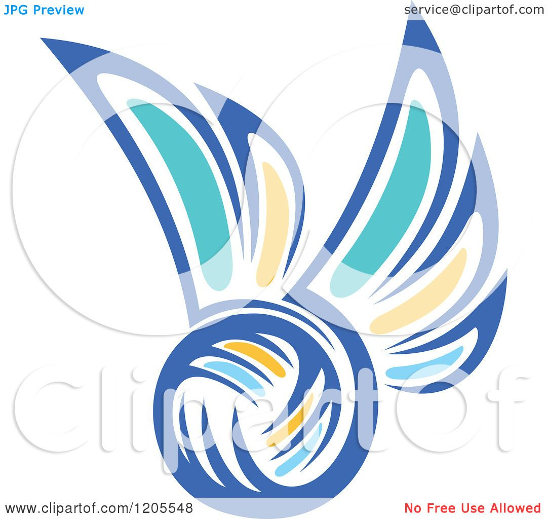 Clipart of a Blue Yellow and Turquoise Volleyball with Wings.