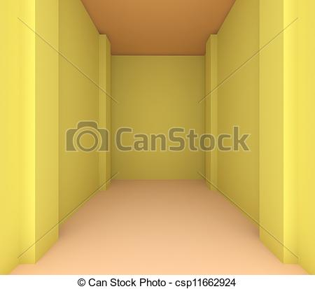 Clip Art of Empty room color yellow wall for renovate.