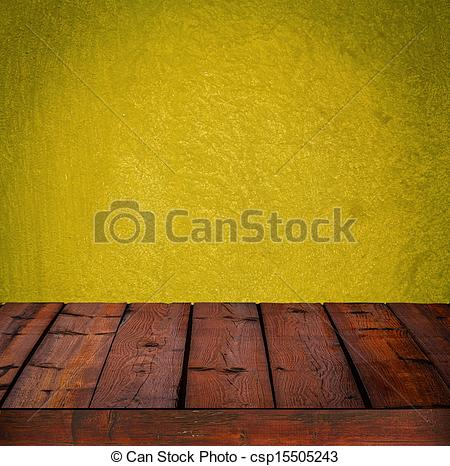 Drawing of Background with wooden table and grunge yellow wall.