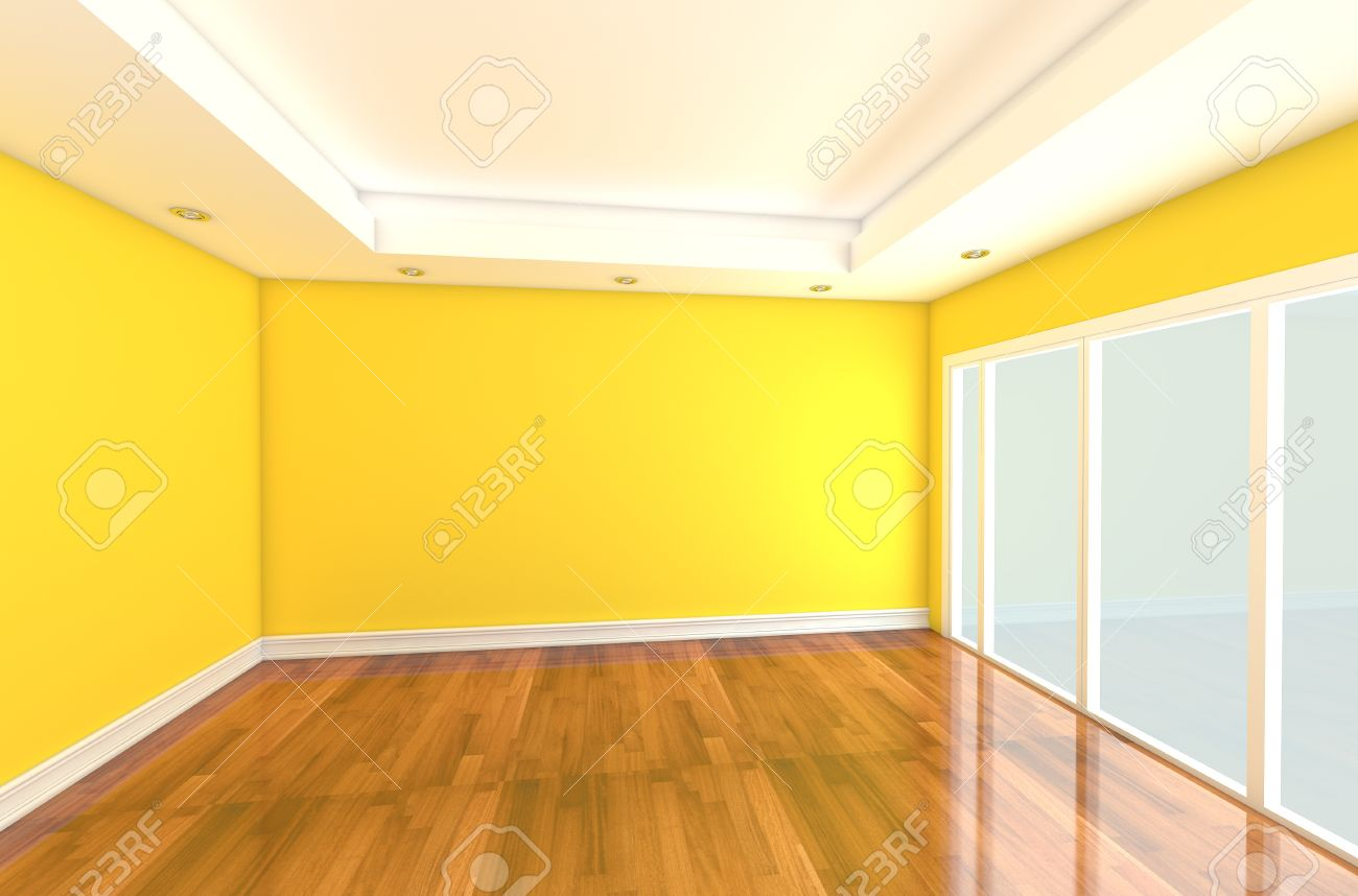 Empty Room Decorated Yellow Wall And Wood Floor With Glass Door.