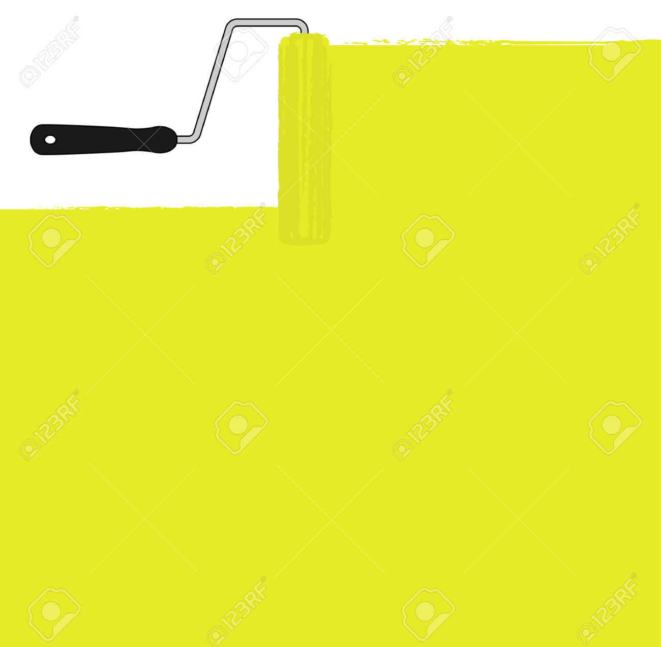 Yellow Paint Roller Painting The Wall. Vector Background Clip.