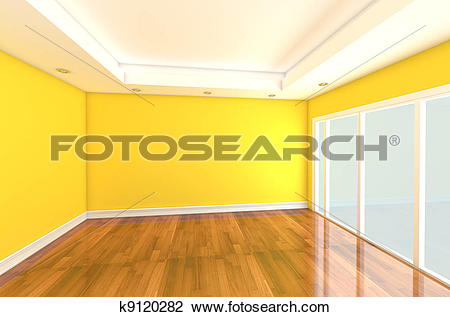 Clip Art of Empty Room decorated yellow wall k9120282.