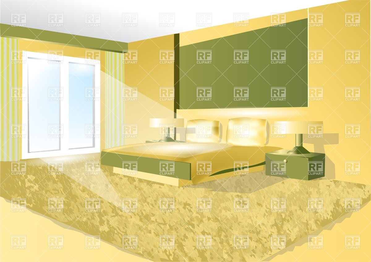 Bedroom interior in green and yellow Vector Image #27100.