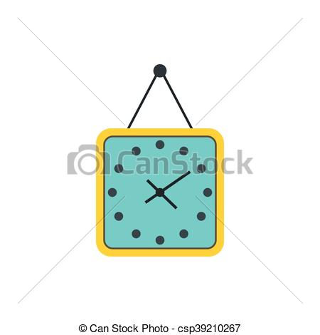 Clip Art Vector of Yellow wall square clock icon, flat style.