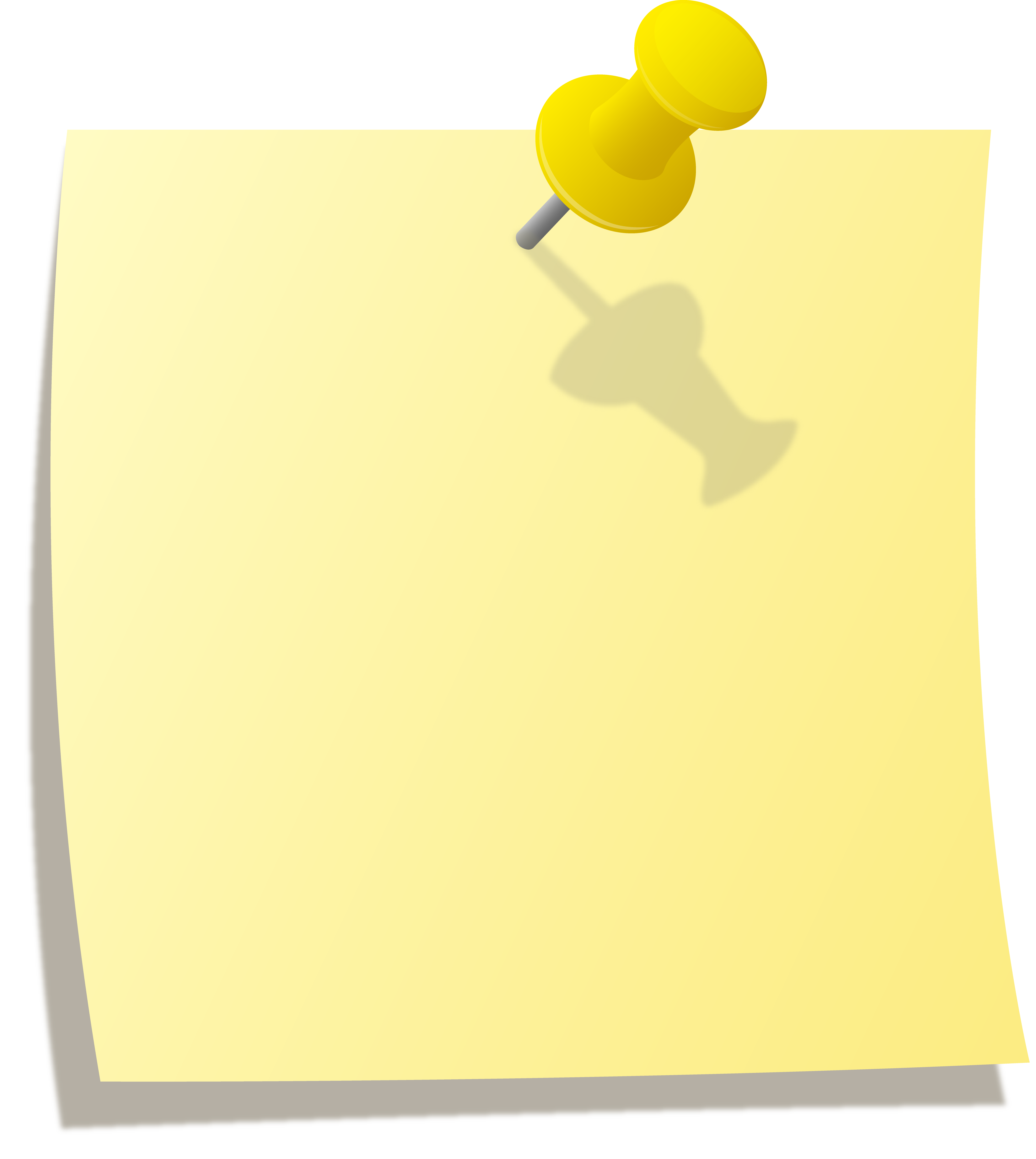 Yellow Note With Thumbtack.